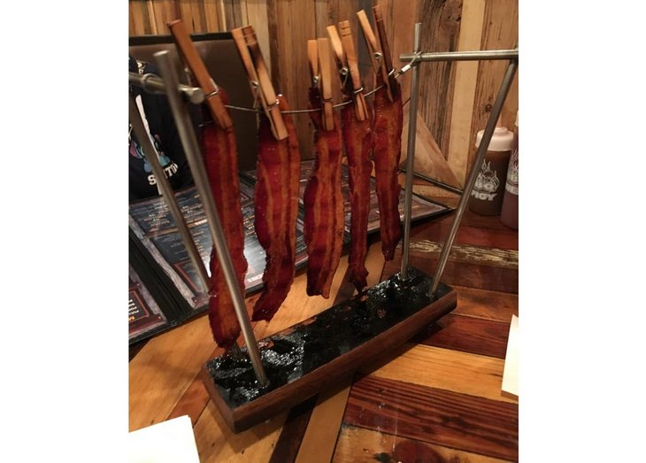Pretentious food presentations: bacon on clothesline