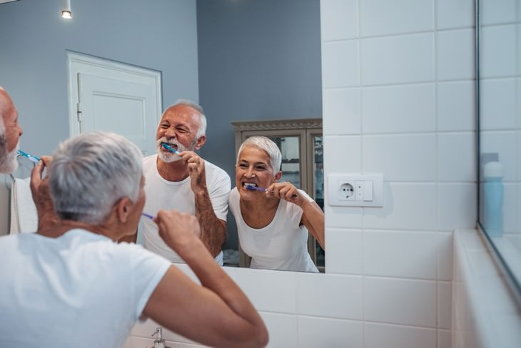Poor Oral Health and Cognitive Decline couple brushing teeth