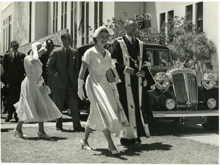 queen elizabeth II funeral operation london bridge young queen walking with Mayor Harry Barker, Gisborne, January 6 1954