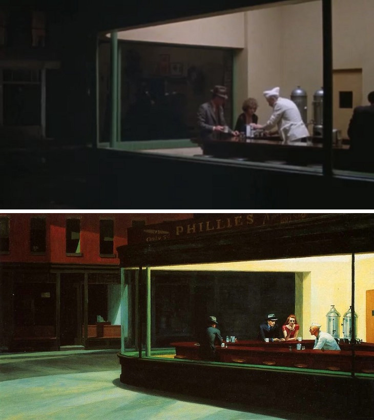 Scenes from paintings: Nighthawks Hopper Pennies from Heaven