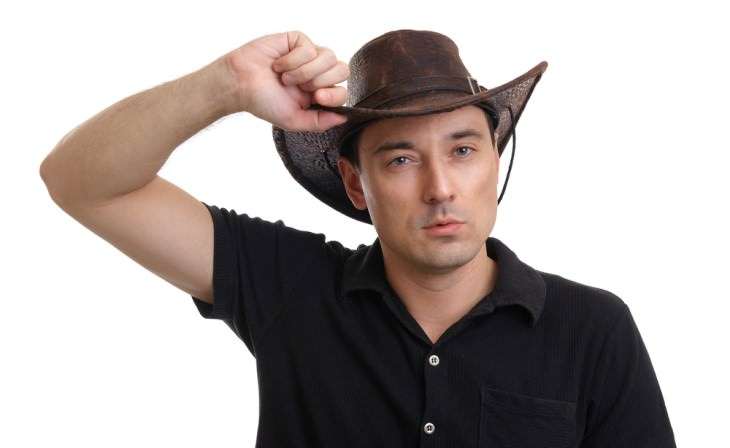 joke: cowboy on white background