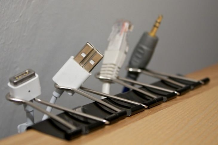 Cable organizing: binder clip holders