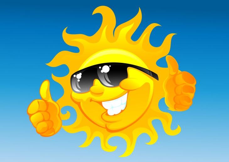joke sun with sunglasses