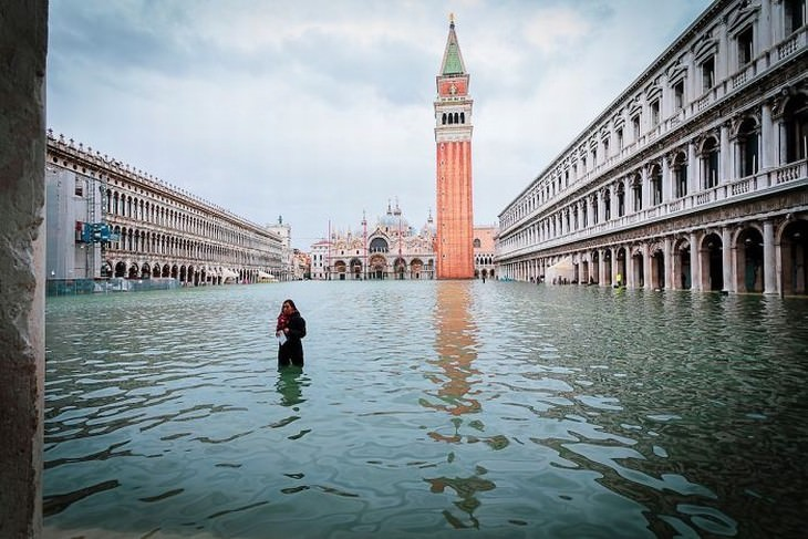 Flooded Venice Piazza San Marco (St.Mark's Square) in 2019