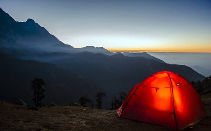 camping tent on a mountain