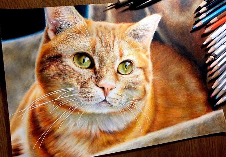 a realistic painting of cats