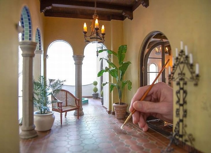 Chris Toledo miniature room design Spanish-Style Loggia from the 1920's