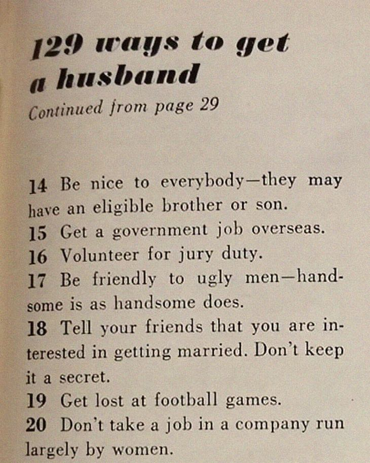 An article from 1958 listing 129 ways to find a husband