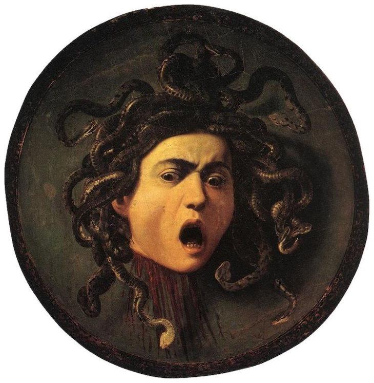 "creepy paintings ""Medusa"" byMichelangelo Merisi da Caravaggio(1597)"