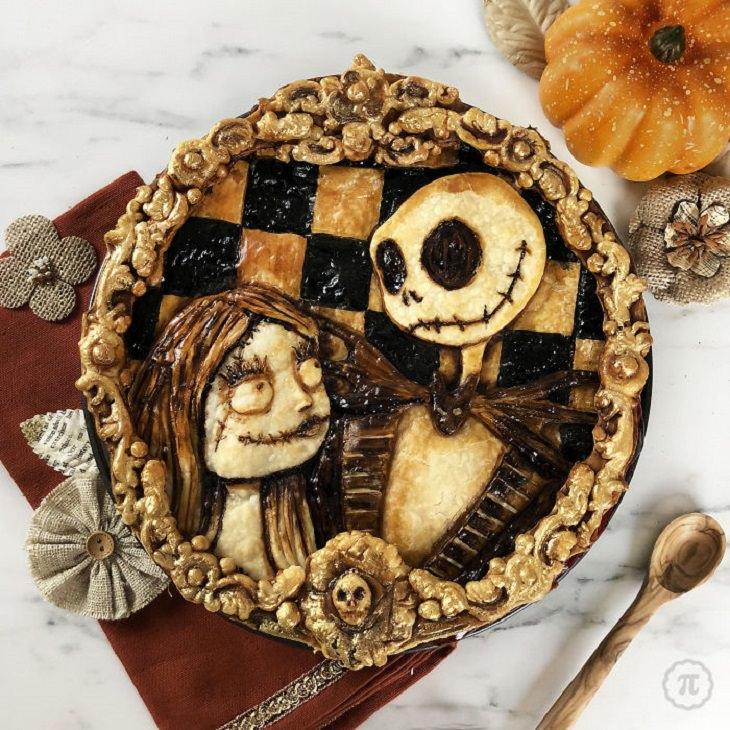 Beautiful, creative and halloween-themed pie art by Jessica Clark-Bojin , nightmare before Christmas