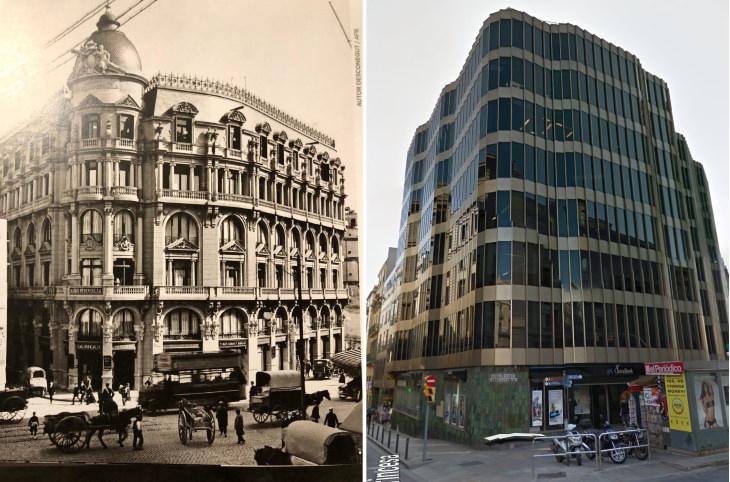 Bad Restorations Via Laietana /Carrer Princesa, Jaume I square, Barcelona, Spain