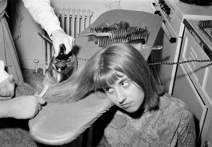 Past Beauty Practices That Seem Strange Today, Ironing hair in order to straighten it, 1964