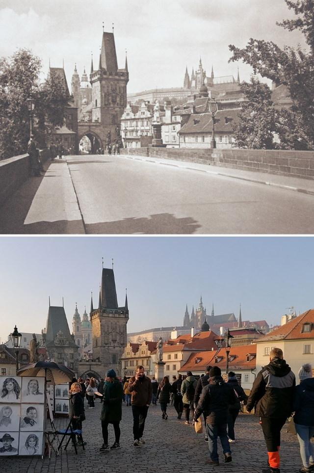 Casper Molenaar In the footsteps of Kurt Hielscher Charles Bridge, Prague, the Czech Republic (1941 vs. 2020)