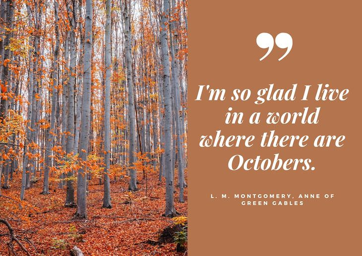 """Quotes abour fall, """"I'm so glad I live in a world where there are Octobers."""" - L. M. Montgomery, Anne of Green Gables"""