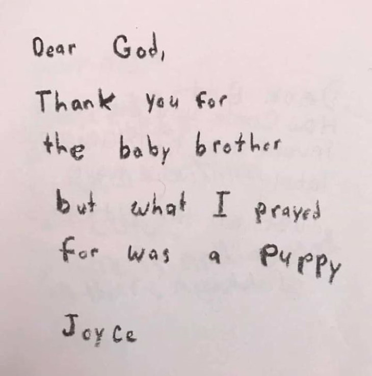 3rd-Graders Ask God baby brother
