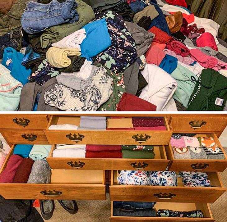Before and After Decluttering Pics, clothing