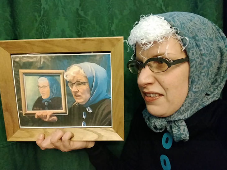 18 Hilarious Recreation of Bad Charity Shop Art, woman with headscarf