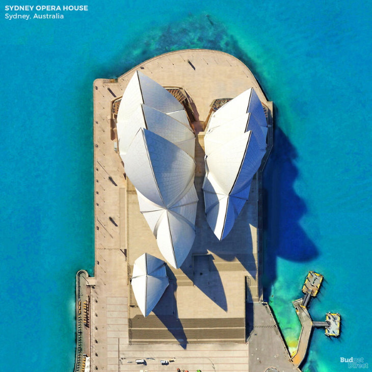 Famous Landmarks From Above by Budget Direct The Sydney Opera House in Sydney, Australia