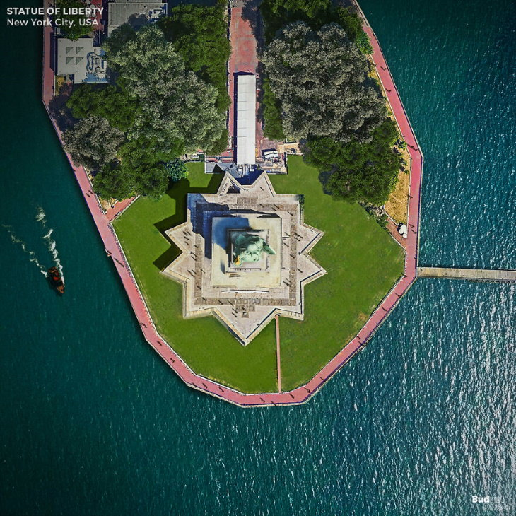 Famous Landmarks From Above by Budget Direct The Statue of Liberty in New York City, USA