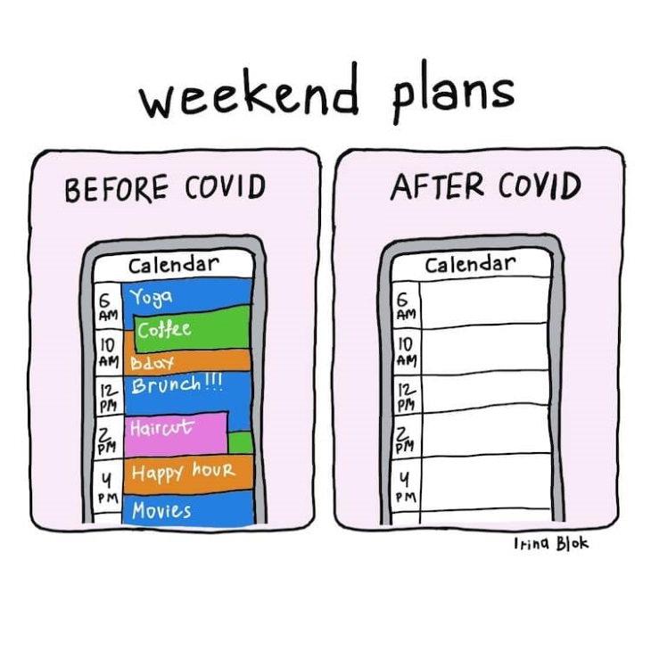 COVID-19 Comics by  Irina Blok weekend plans
