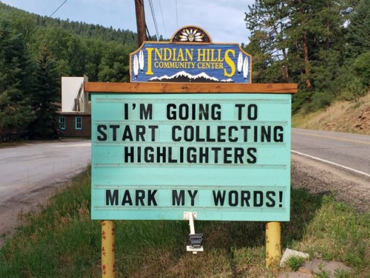 Indian Hills Community Center Signs highlighters
