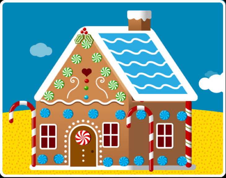 Optical Illusions  dancing gingerbread house