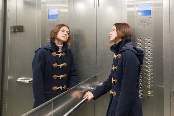 6 Low-Tech Solutions That Fixed High Tech Problems, woman in elevator