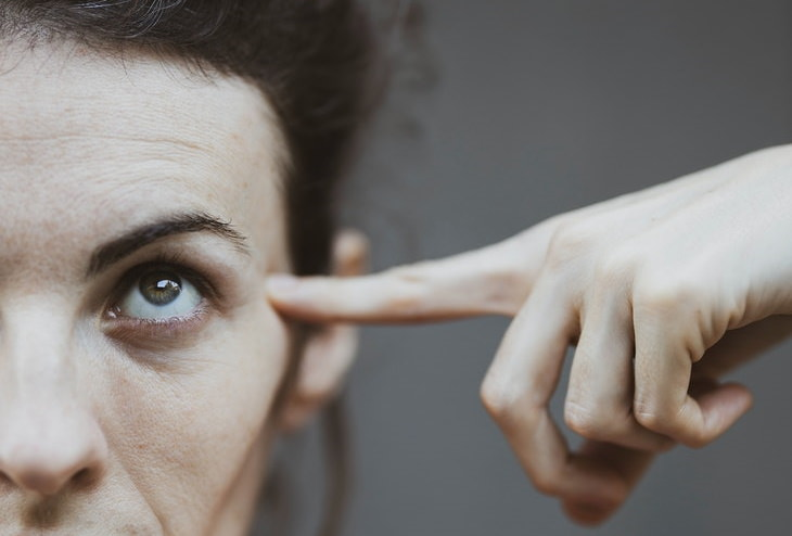 Eye Yoga woman pointing with finger on eyes