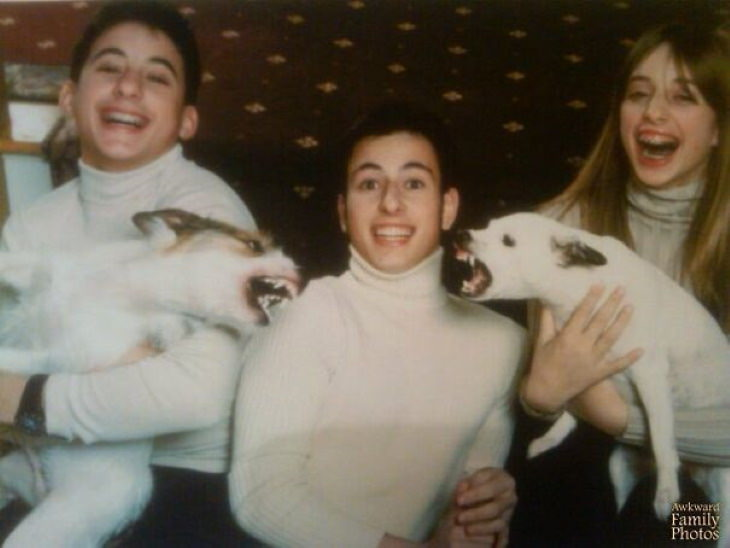 Christmas Family Photo Fails We were taking our family Christmas photo, and let's just say the dogs weren't in a Holly Jolly mood.