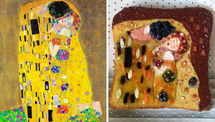 Sandwiches Inspired by Iconic Paintings Gustav Klimt - 'The Kiss' (1907)