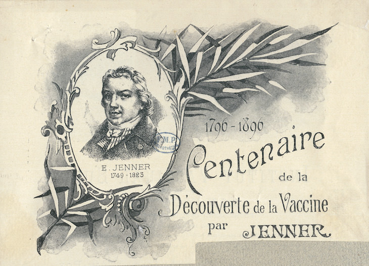 5 of The Most Important Vaccines in History, French print in 1896 marking the centenary of Jenner's vaccine