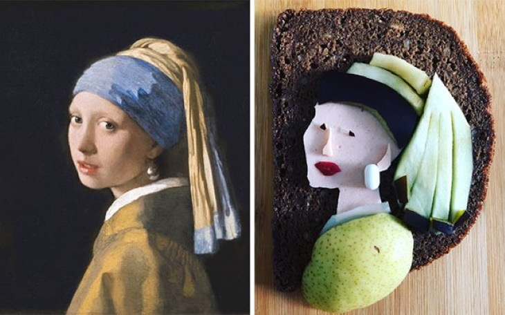 Sandwiches Inspired by Iconic Paintings Johannes Vermeer - 'Girl With A Pearl Earring' (1665)