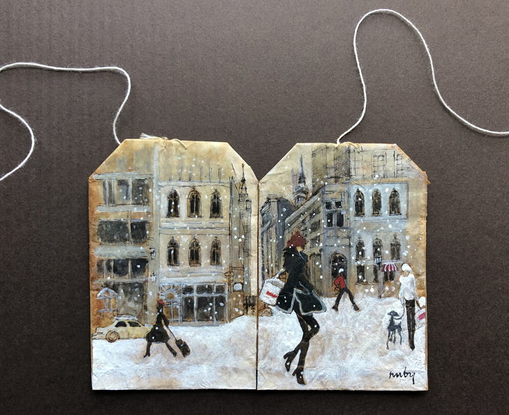 Teabag Art by Ruby Silvious, snow day
