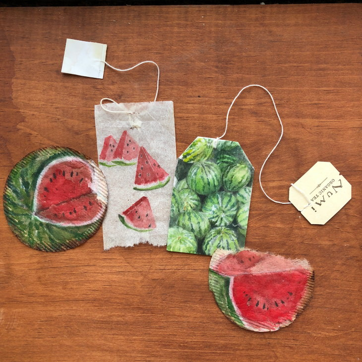 Teabag Art by Ruby Silvious, watermelon