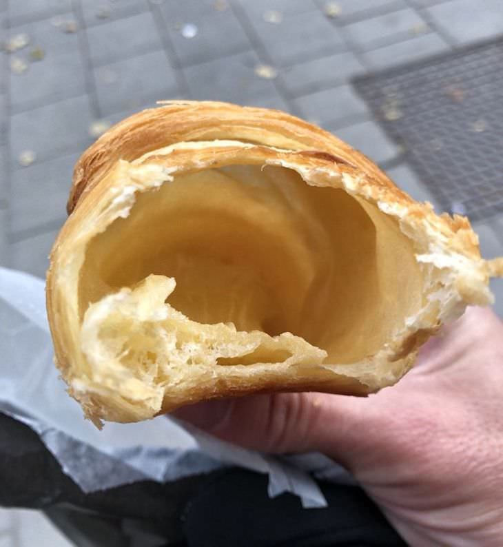 14 Hilariously Underwhelming Takeout Orders, hollow croissant