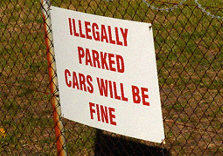work fails illegally parked cars will be fine