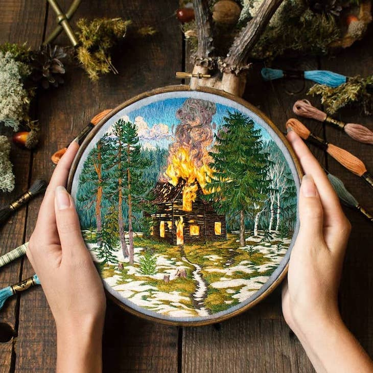 Creative Pieces of Embroidery by Current Artists, A house burning amidst a lush green forest by Jura Gric