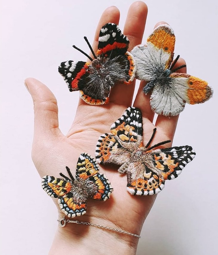 Creative Pieces of Embroidery by Current Artists, Realistic Butterfly Brooches by Georgie Emery