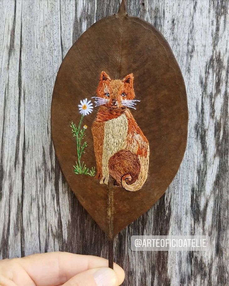 Colorful Embroideries on Dead Leaves, cat