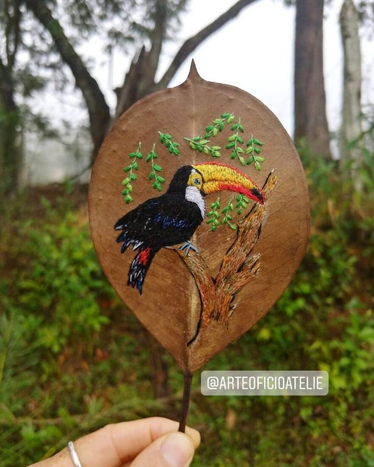 Colorful Embroideries on Dead Leaves, bird