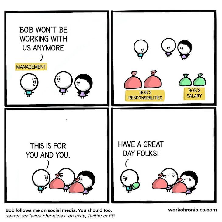 Funny and Related Workplace Comics, fair pay and workload