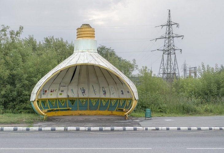 Photographs of bus stops and train stations in former Soviet Union countries with unique architecture and designs