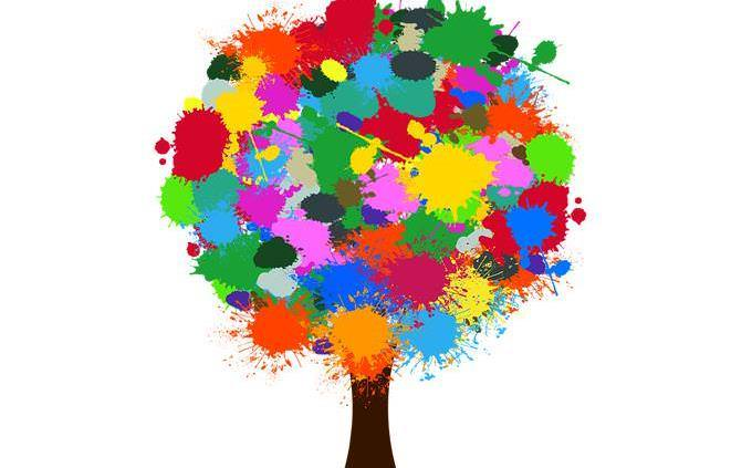 tree with paints splashes instead of leaves