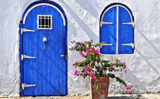 a blue entrance door