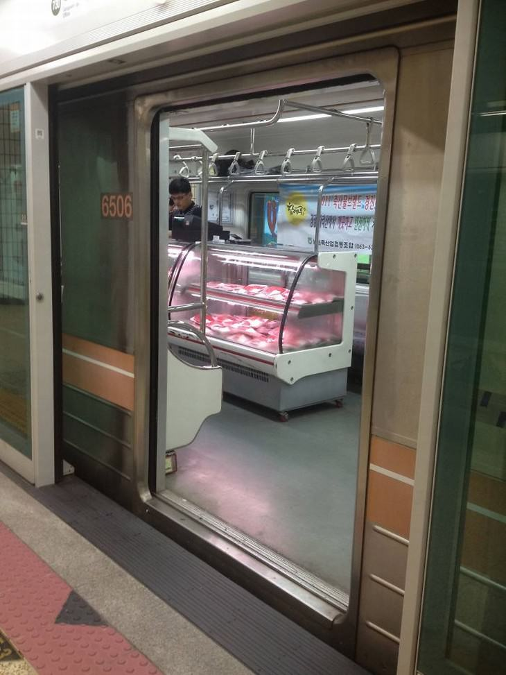 strange subway encounters Seoul meat section