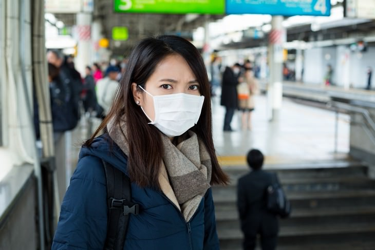 wearing masks against viruses woman wearing a surgical mask in public