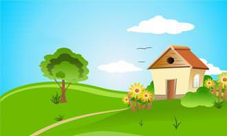 drawn house in the country with blue skies with 2 clouds