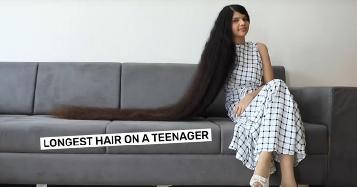 2. Nilanshi Patel, Longest Hair on a Teenager, 16 years old