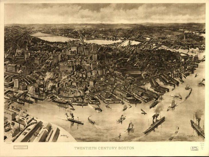 Illustrated panoramic maps 20th century Boston
