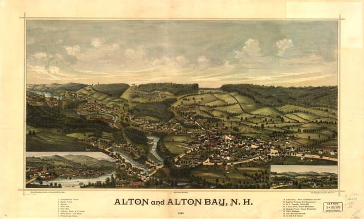 Illustrated panoramic maps Alton and Alton Bay, New Hampshire, 1888